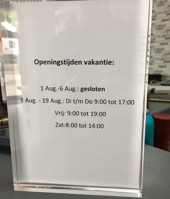 Openingstijden vakantie 2017 Haarstudio Image van Alebeek